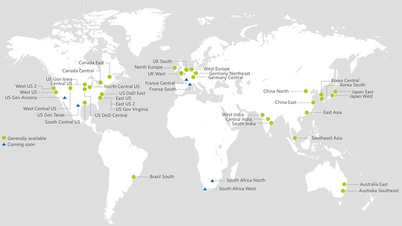 Overzicht van alle datacenters wereldwijd waar Wowza Transcoder